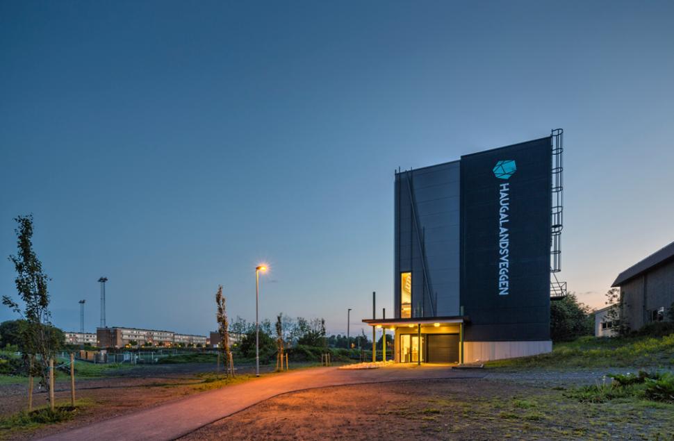 Haugalandsveggen Klatrehall i Haugesund tegnet av Arkitektkontoret Brekke Helgeland Brekke AS
