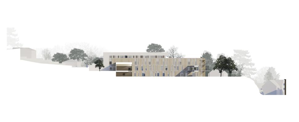Ny sjukeheim i Bandadalen på Stord. Trekledningsfasade med varierende vinduspartier. Snitt gjennom inngangsparti og sansehage.
