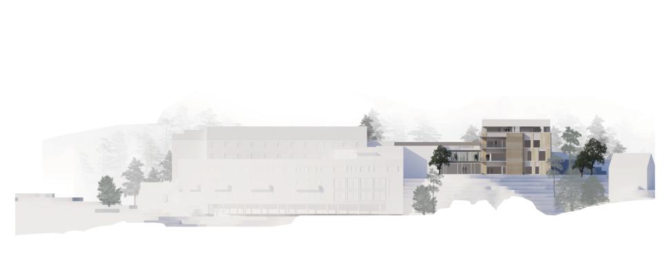 Ny sjukeheim i Bandadalen på Stord. Trekledningsfasade med varierende vinduspartier. Fasade mot nord.