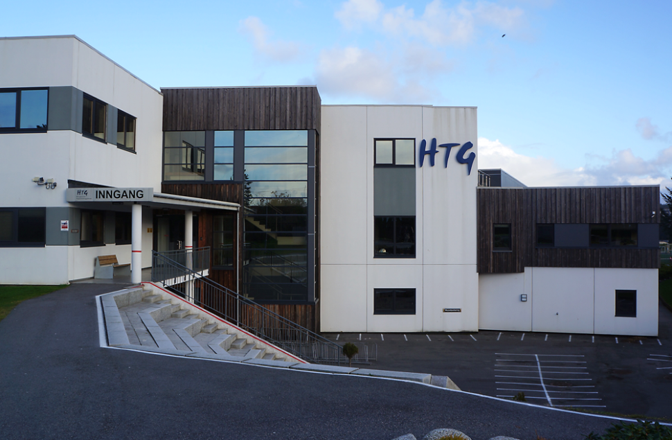 Inngangsparti Haugesund Toppidrettsgymnas, med amfitrapper.
