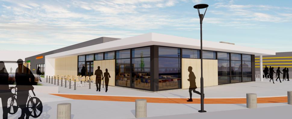 Stor felles kafe i adkomstområdet på Haugesund Pistol- og curlingklubbs nye lokaler - Arkitektkontoret Brekke Helgeland Brekke AS
