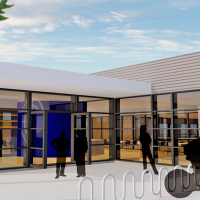Inngangsparti og fellesrom på gateplan i den nye flerbrukshallen til Haugesund Pistol- og Curlingklubb