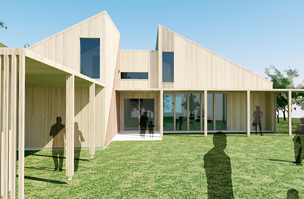 Perspektiv mot inngangspartiet på nye o- hytta i Djupadalen Haugesund - Arkitektkontoret BHB AS