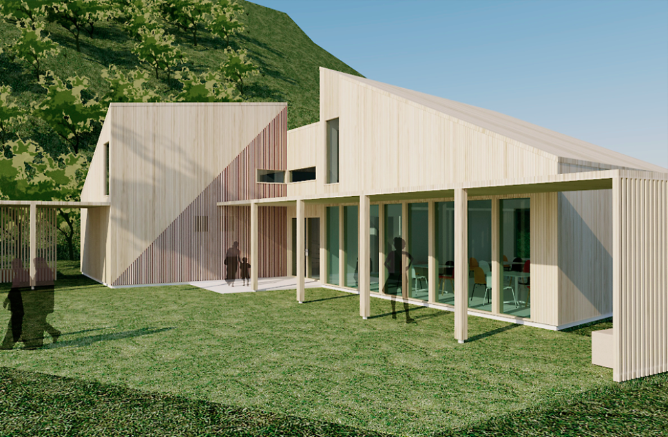 Takoverbygg i tre og spilekledd fasade for orienteringsløperne i Haugesund Orienteringsklubb HIL, ifølge Arkitektkontoret Brekke Helgeland Brekke AS