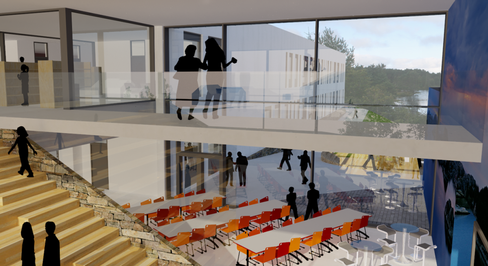 Uteareal på konkurranseforslag Bremnes Ungdomsskole - Arkitektkontoret Brekke Helgeland Brekke AS