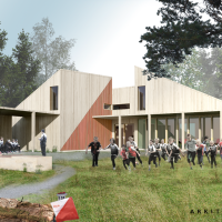 Skisseforslag fra Arkitektkontoret Brekke Helgeland Brekke AS på Haugesund Orienteringsklubb sine nye lokaler i Djupadalen, O- hytta.